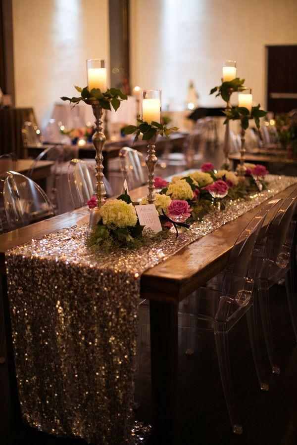 Sequined-wedding-table-runners-glittering-table-decor-flowers-candle-holders